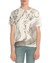 Tie-Dye Short-Sleeve T-Shirt, White