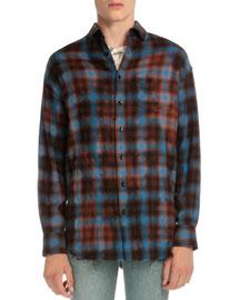 Plaid Flannel Button-Down Shirt, Blue/Red