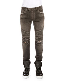 Distressed Denim Moto Jeans, Black