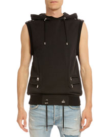 Sleeveless Hooded Cotton Pullover, Black