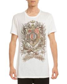Crest-Print Cotton T-Shirt, White