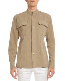 Long-Sleeve Cotton Shirt-Jacket, Beige