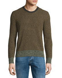 Moline Colorblock Crewneck Sweater, Brown