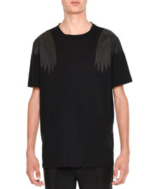 Rockstud Tonal Eagle-Wings Short-Sleeve T-Shirt, Black