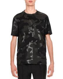 Camu Rockstud Short-Sleeve T-Shirt, Black Tone-on-Tone