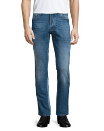 Straight-Leg Denim Jeans, Light Blue