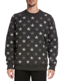 Allover Star-Embroidered Sweatshirt, Gray
