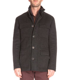 Four-Pocket Cashmere Jacket, Charcoal