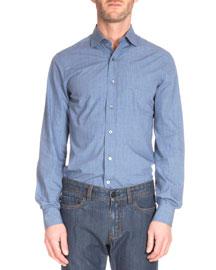 Textured Woven Button-Down Shirt, Blue