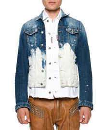 Bleached Button-Down Denim Jacket, Blue