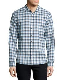 Plaid Flannel Long-Sleeve Sport Shirt, Gray/Blue