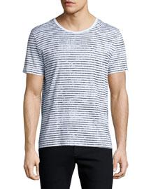 Striped Short-Sleeve Crewneck T-Shirt, White/Black