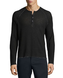 Raw-Cut Raglan Sleeve Henley Shirt, Black