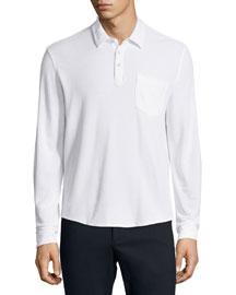 Long-Sleeve Polo Shirt, White