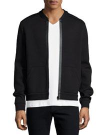 Bonded Cotton-Blend Zip-Up Jacket, Black