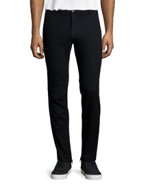 Stretch-Cotton Moto Pants, Black