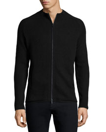 Ribbed Full-Zip Sweater, Charcoal