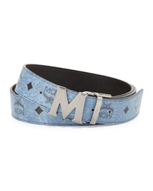Reversible M-Buckle Monogram Belt, Denim