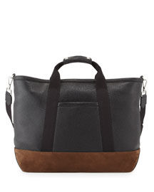 Men's Two-Tone Leather Weekender Bag, Black/Brown