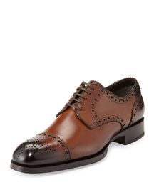 Edward Med-Cap Wing-Tip Derby Shoe, Brown