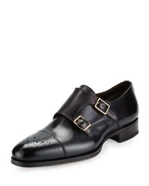 Austin Double-Monk Strap Leather Loafer, Grey