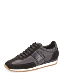 Colorblock Leather-Suede Runner Sneaker, Black