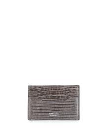 Lizard Leather Card Case, Gray