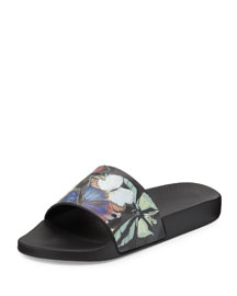 Butterfly-Print Slip-On Sandal, Blue