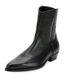 Leather Cowboy Boot, Black