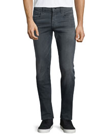 Standard-Fit Washed Denim Jeans, Gray