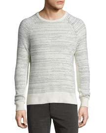 Justin Textured Cashmere Crewneck Sweater, Ivory