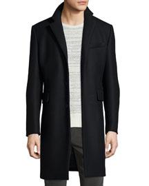 Victor Wool-Blend Long Coat, Black
