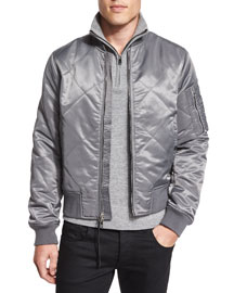 Manston Quilted Zip-Up Bomber Jacket, Gray