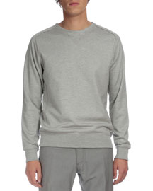 Raw-Edge Crewneck Sweater, Gray