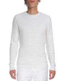 Textured Crewneck Long-Sleeve Sweater, White