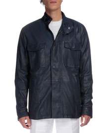 Leather Field Jacket, Navy