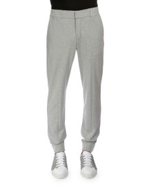 Banded-Cuff Cotton/Silk Jogger Pants, Gray