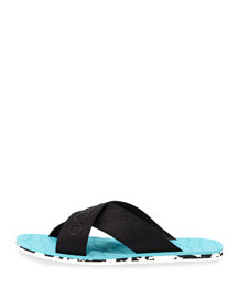 Clive Men's Rubber Crisscross Slide Sandal, Black/Malibu
