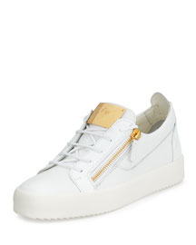 Men's Patent Leather Low-Top Sneaker, White