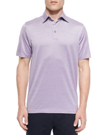 Cotton-Silk Solid Polo Shirt, Purple