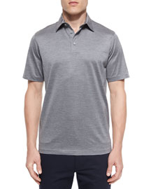 Cotton-Silk Polo Shirt, Dark Gray