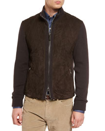 Quilted Suede Jacket with Knit Sleeves, Brown