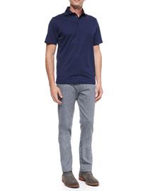 Short-Sleeve Knit Polo Shirt, Navy