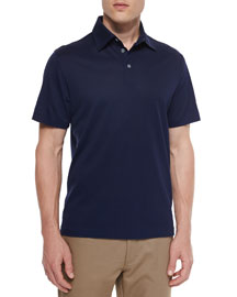 Cotton-Silk Pique Polo Shirt, Navy