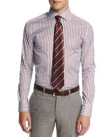 Textured Stripe Silk Tie, Navy/Orange