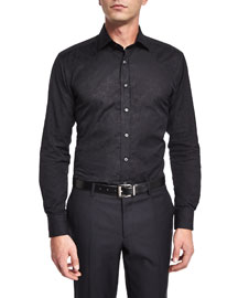 Tonal-Jacquard Long-Sleeve Sport Shirt, Black