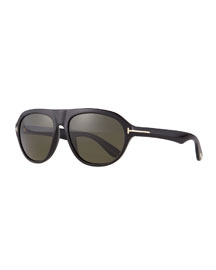 Ivan Shiny Acetate Sunglasses, Black