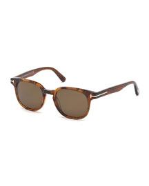 Frank Translucent Acetate Sunglasses, Brown