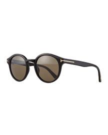 Lucho Round Sunglasses, Black