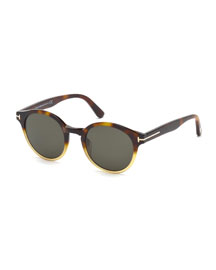 Lucho Shiny Havana Round Sunglasses, Brown